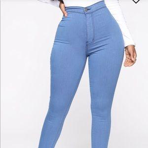 Fashion Nova blue high waisted pants